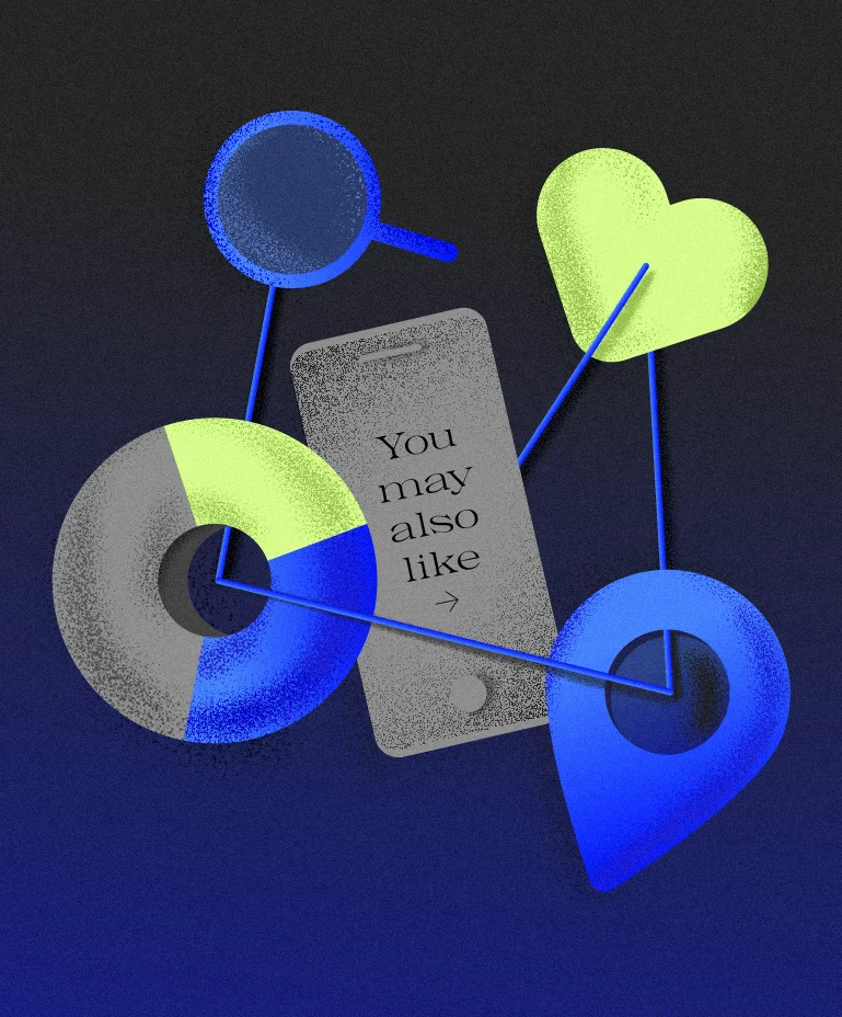 """An illustration of a few web icons surrounding a phone that reads """"You may also like"""""""