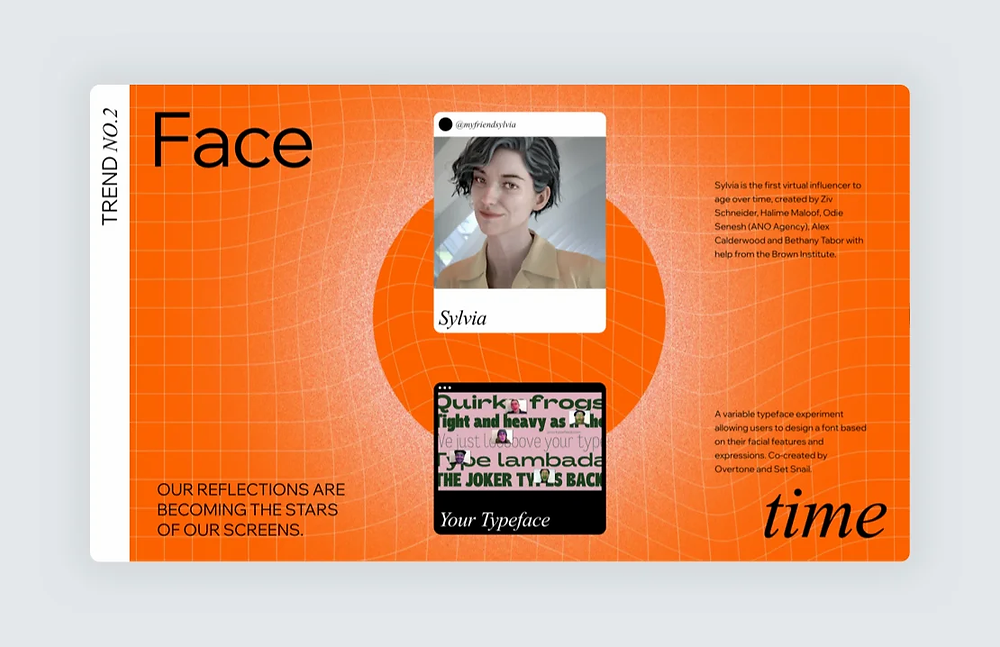 """A screenshot of trend number 2, """"Face time,"""" on Editor X's 2021 Web Design Trends Report"""