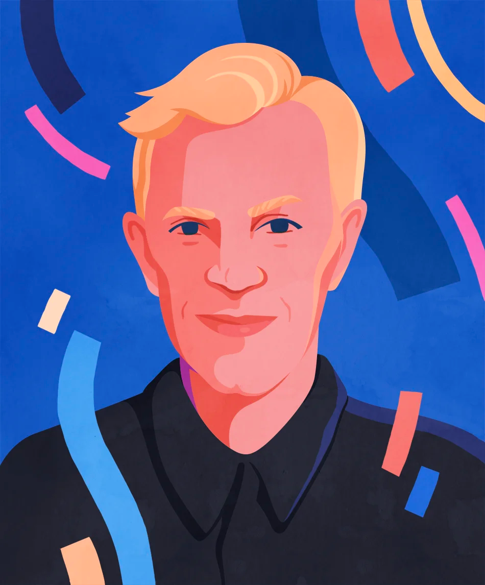 An illustrated portrait of Aarron Walter by Petra Eriksson
