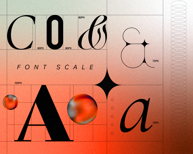 A graphic illustration with various typographic characters placed on a grid and their corresponding font sizes