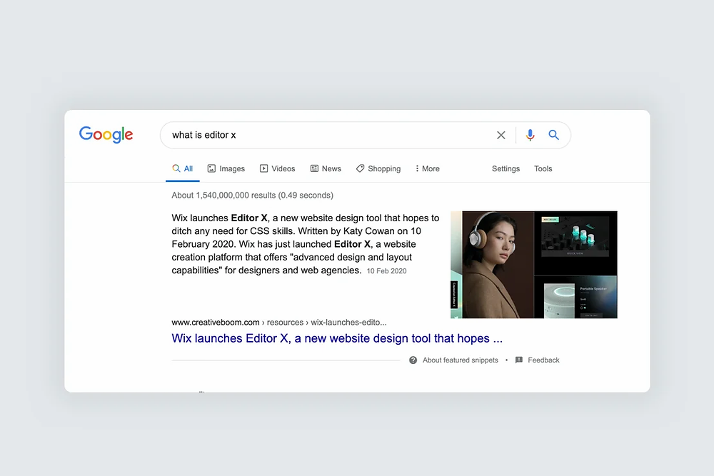 A featured snippet to the query 'what is editor x'