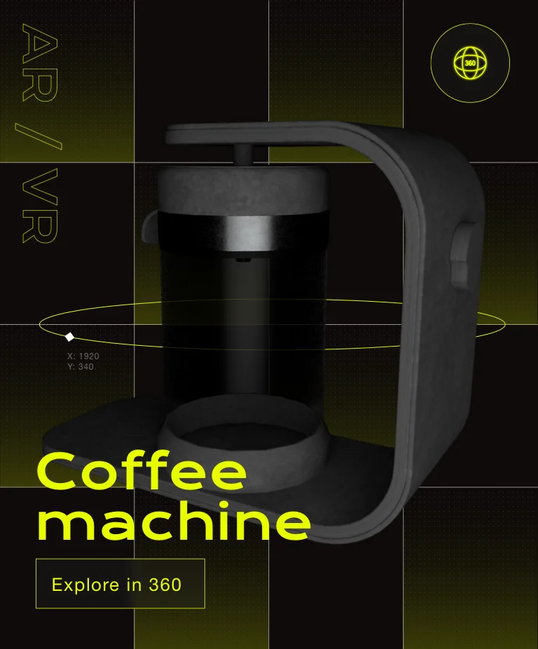 A 3D illustration of a 360 degrees view of a coffee machine in AR and VR