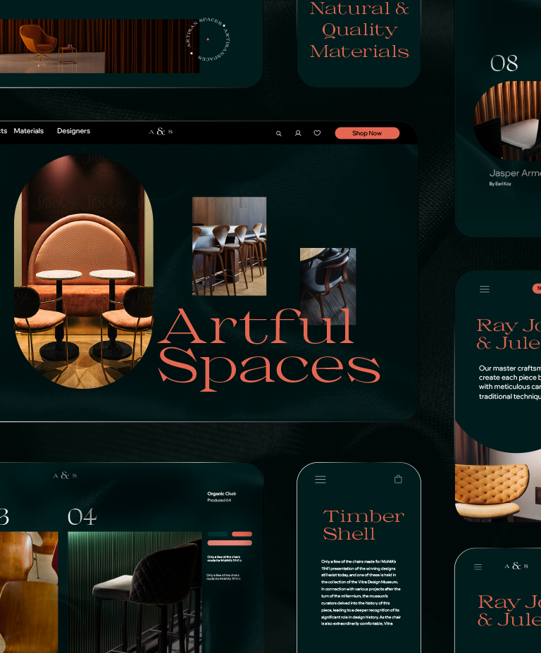 A responsive website for a furniture and interior design store, seen across various viewports