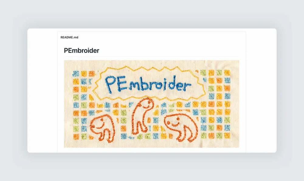 PEmbroider creative coding website screenshot