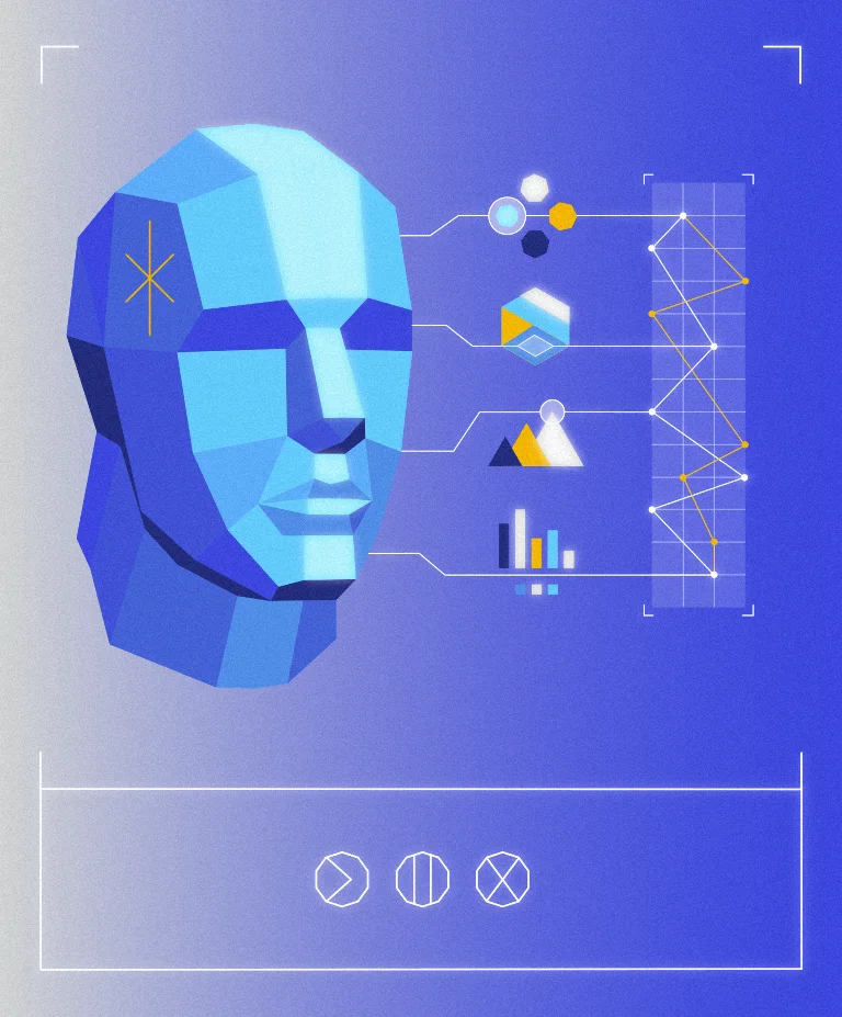 3D visual of a polygon head and various graphs