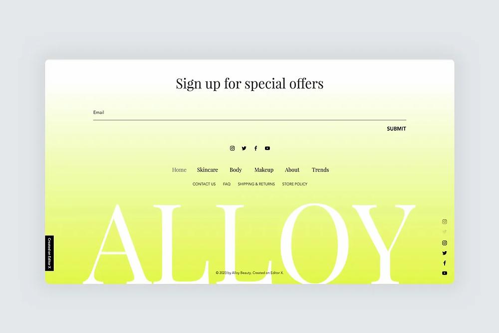 An newsletter sign up form in a website design
