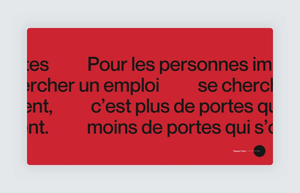 A website design by Locomotive with large typography in French