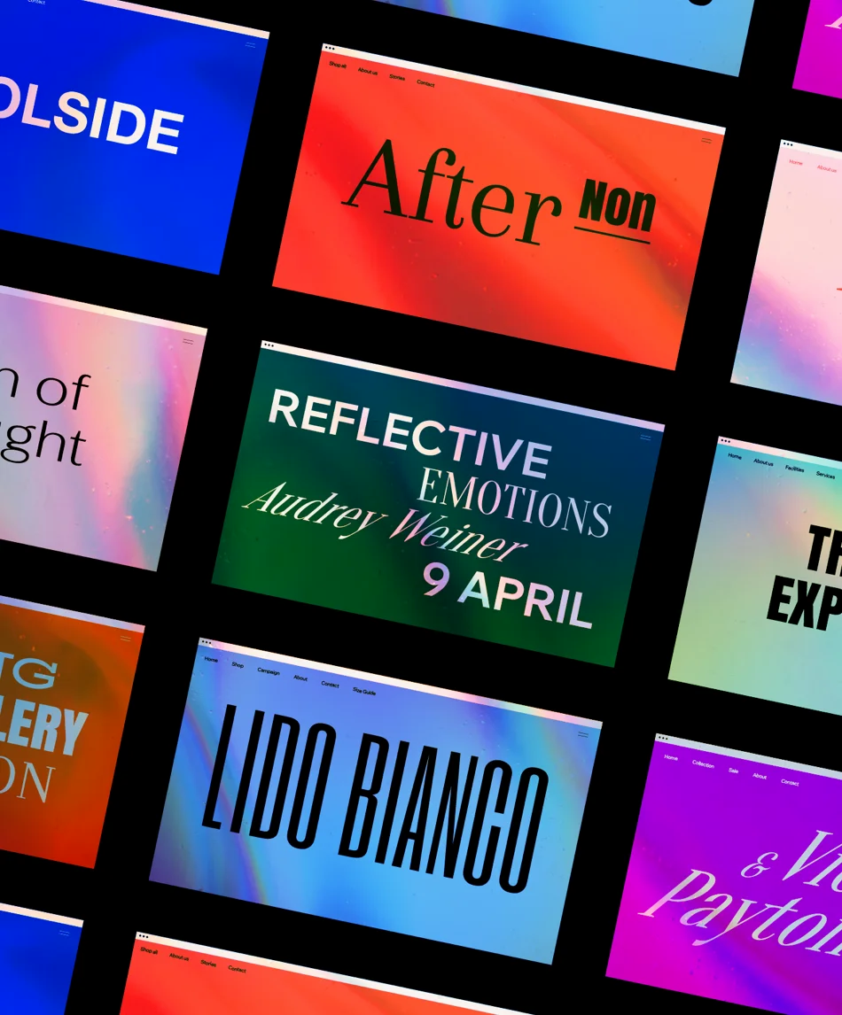 A collection of websites featuring prominent web typography