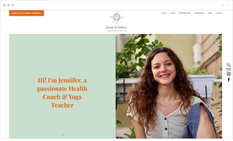 Jennifer K. Wellness fitness website
