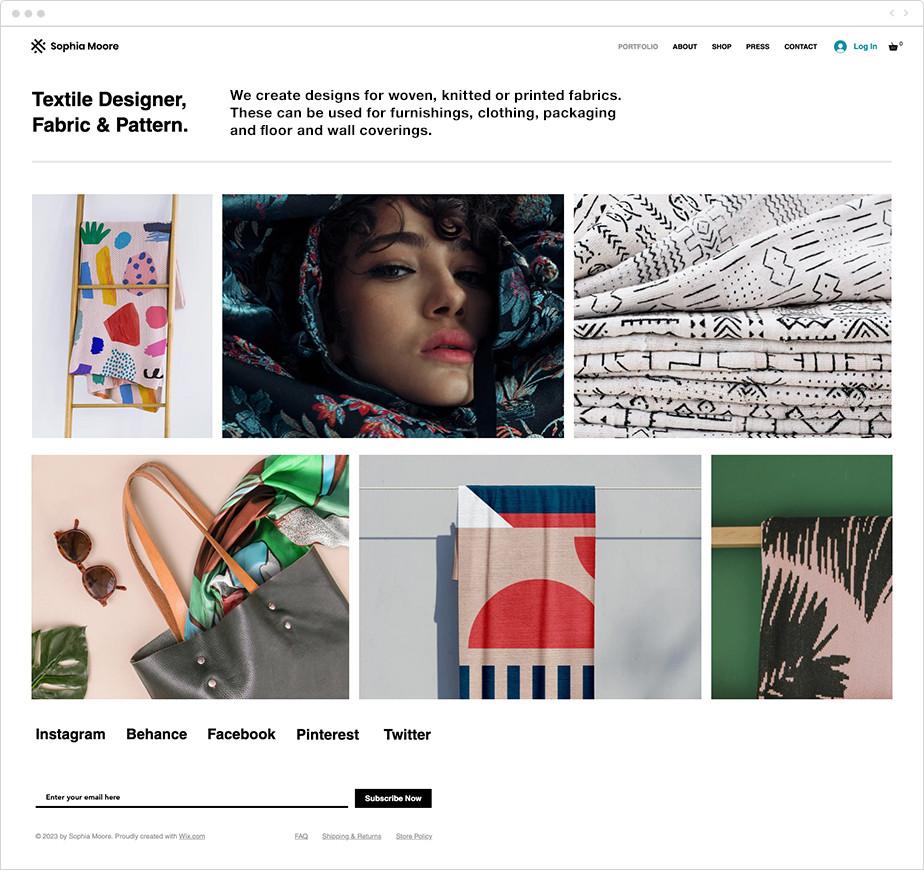 Textile design portfolio template