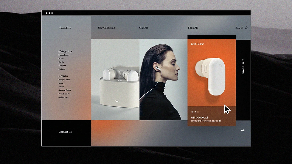 An eCommerce website design for headphones with a hover interaction enlarging and adding color to one of the page elements