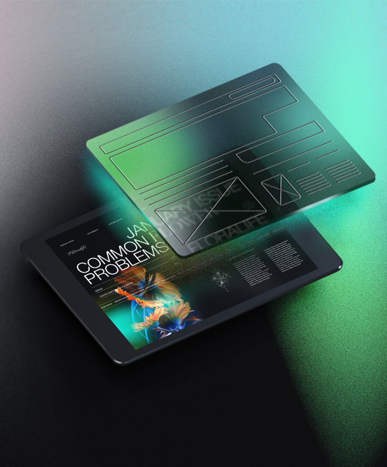 Digital illustration of a website design on a tablet with the wireframe hovering over it.