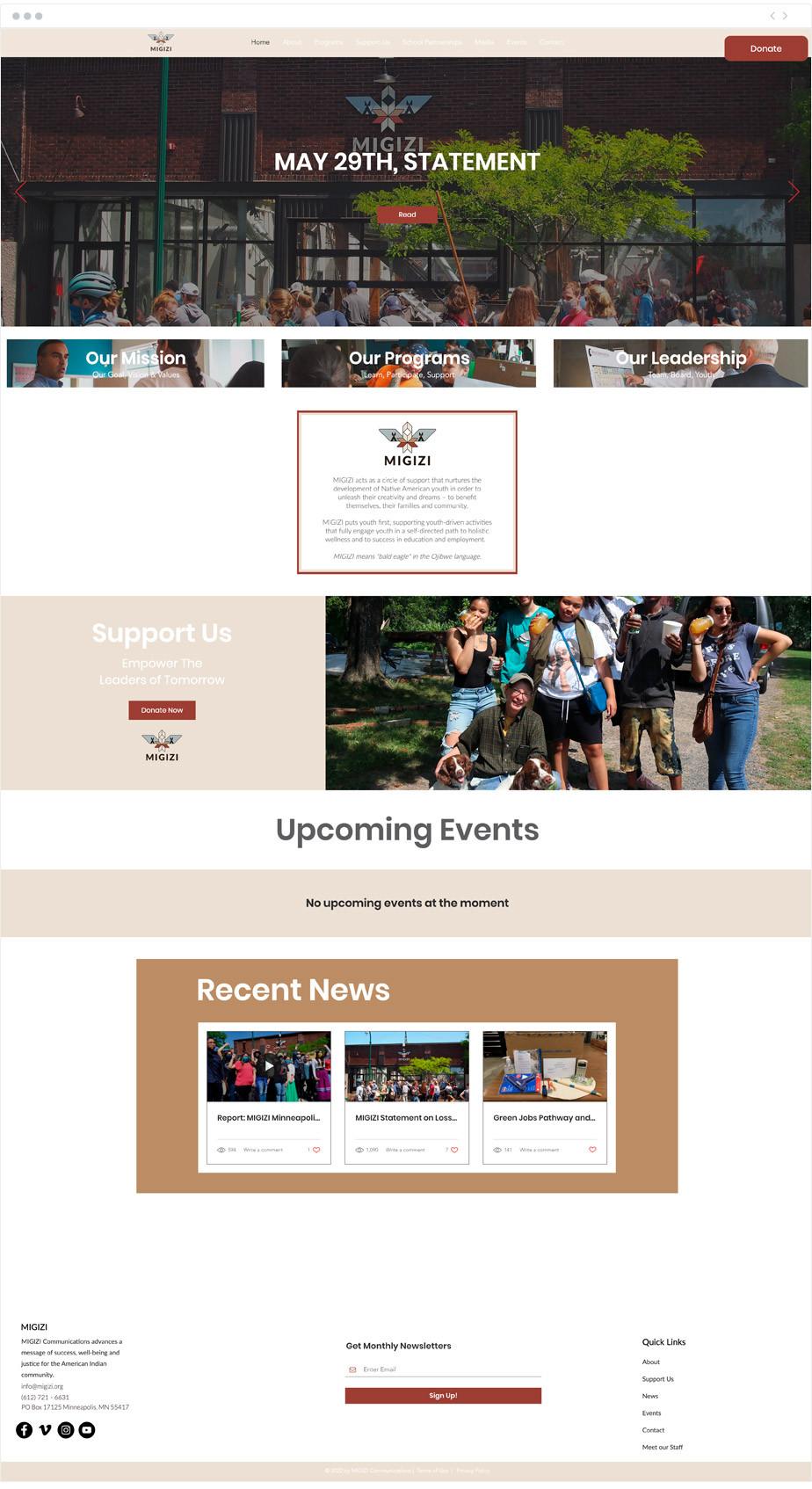 MIGIZI nonprofit website