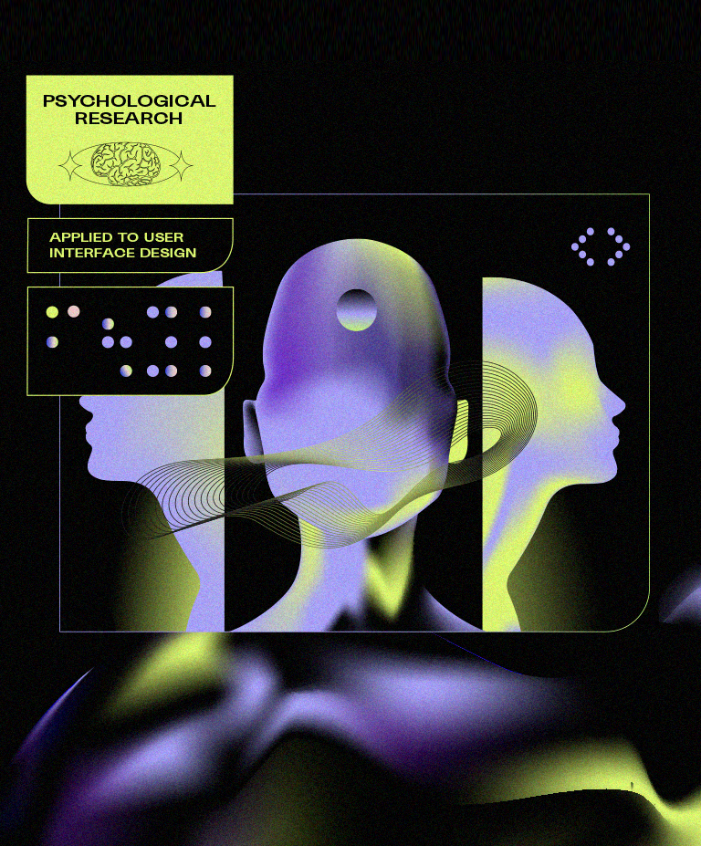 A graphic illustration of a featureless face facing three different directions, and text reading: Psychological research applied to interface design