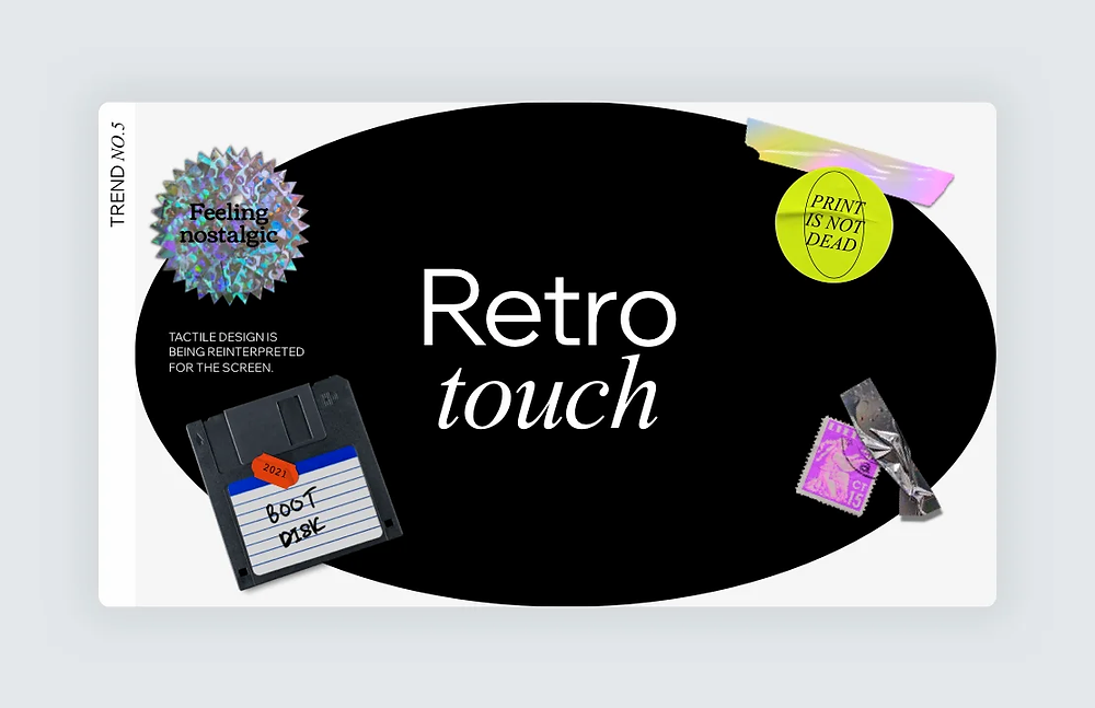 """A screenshot of trend number 5, """"Retro touch,"""" on Editor X's 2021 Web Design Trends Report"""