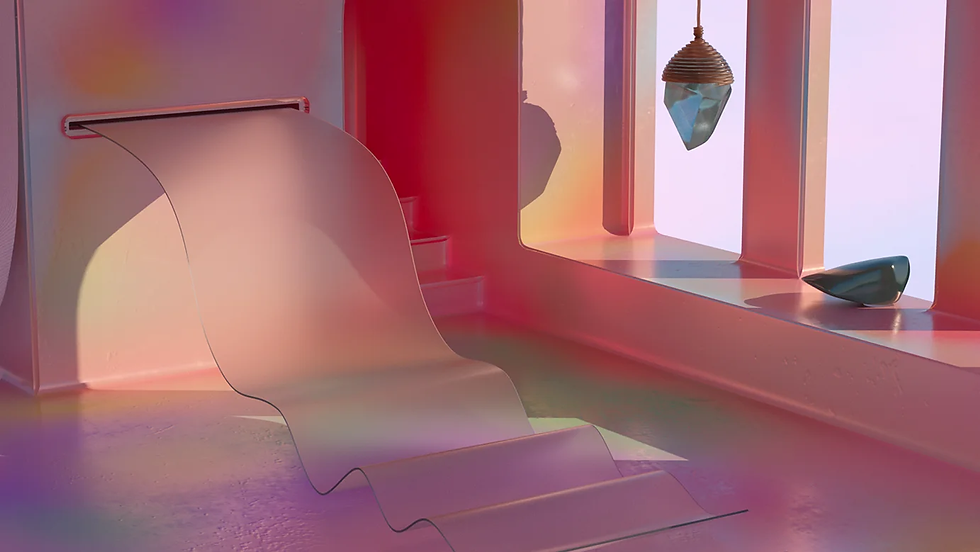 A pastel-colored 3D interior by art director Daniel Aristizábal.