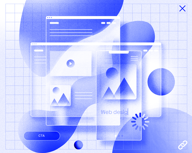 An illustration of web design elements including various viewports, a loading icon, an anchor link and a CTA