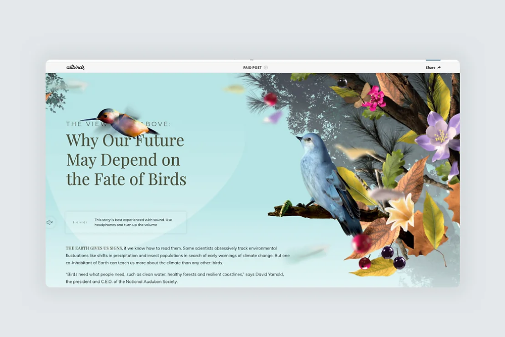 A screenshot of a website design with 3D illustrated birds and flowers