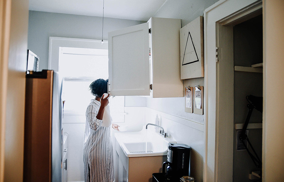As stock photo of a woman at home.