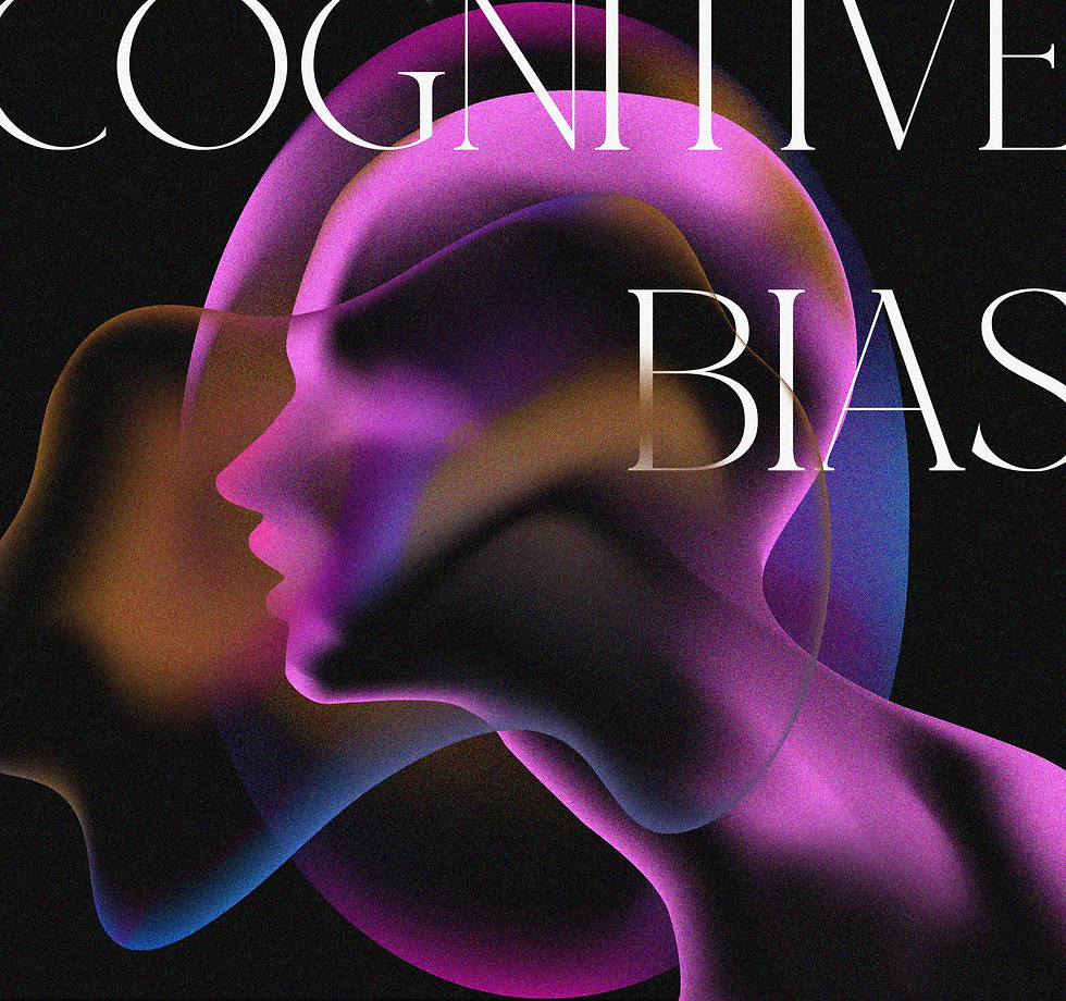 "An illustration of a human head in profile with floating blobs surrounding it, and text reading ""cognitive bias"""