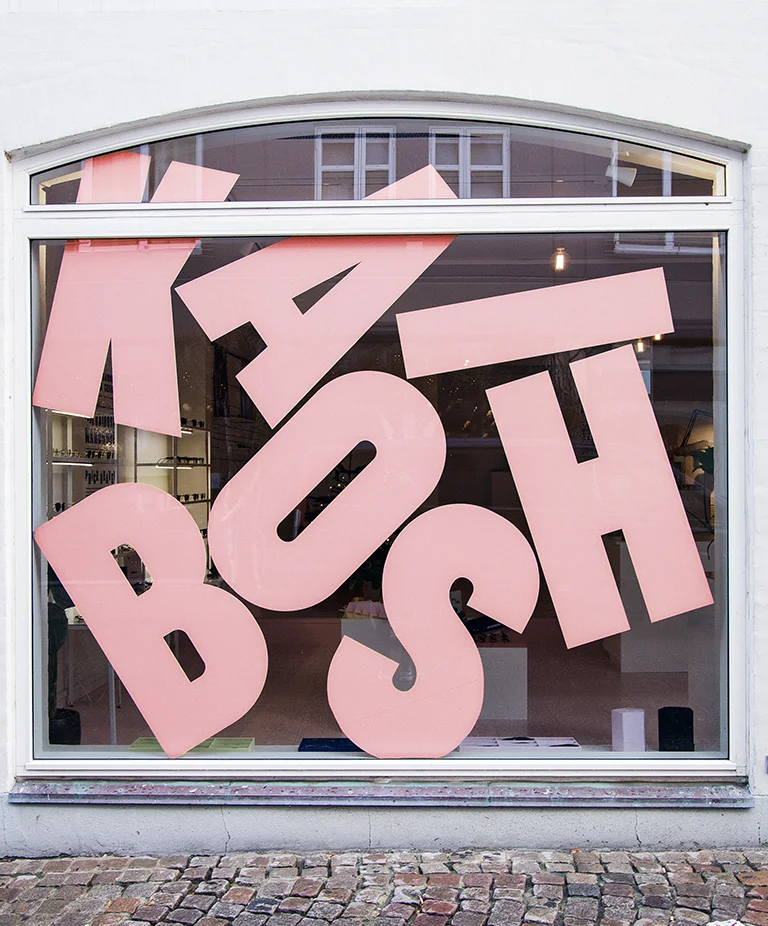 Typography on the storefront of an eyewear brand by Jens Nilsson