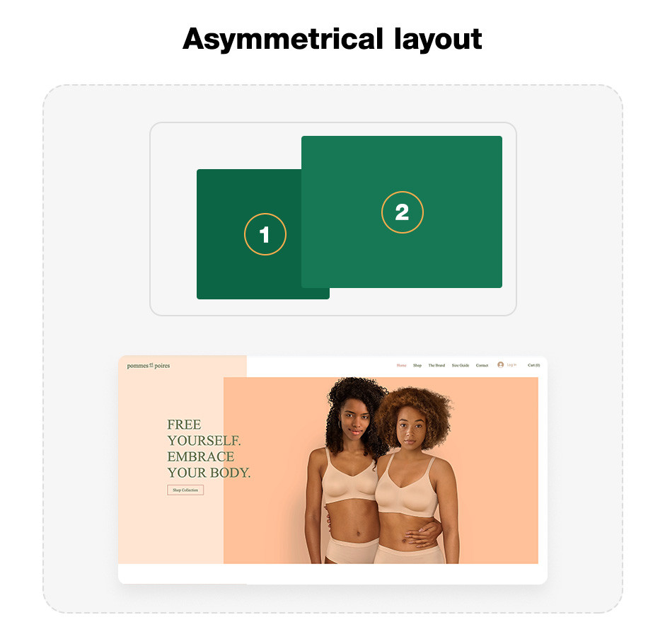 Asymmetrical layout website layout template