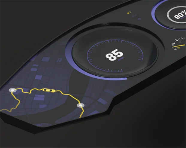 A 3D illustration of a car dashboard with various widgets presenting the driver with relevant information