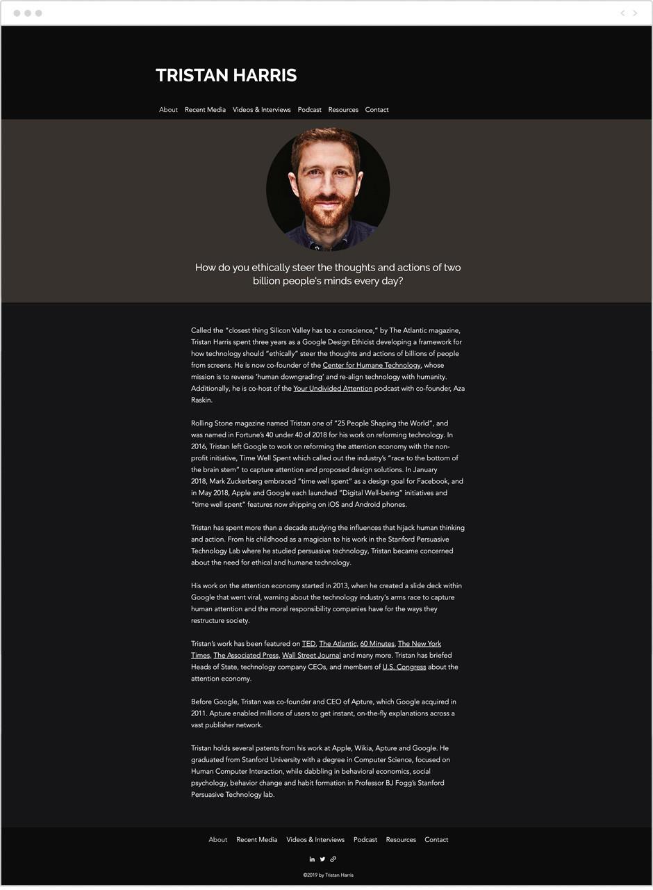 Tristan Harris personal website example
