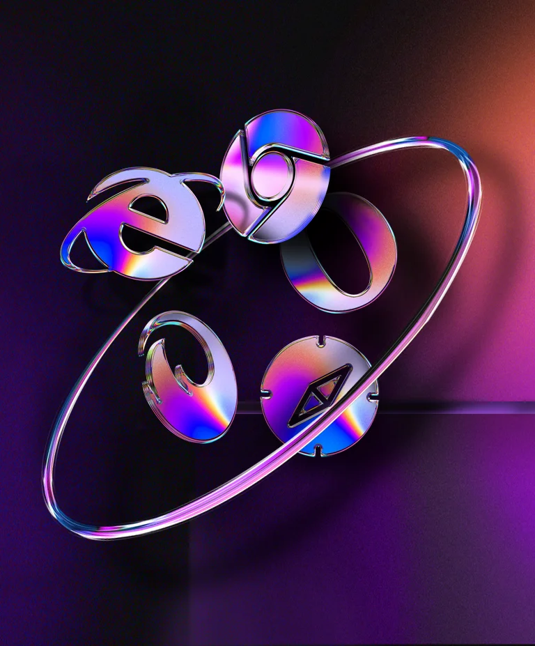 A 3D illustration of different browser icons, including Chrome, Internet Explorer, Firefox, Opera and Safari, floating in mid-air surrounded by a hoop