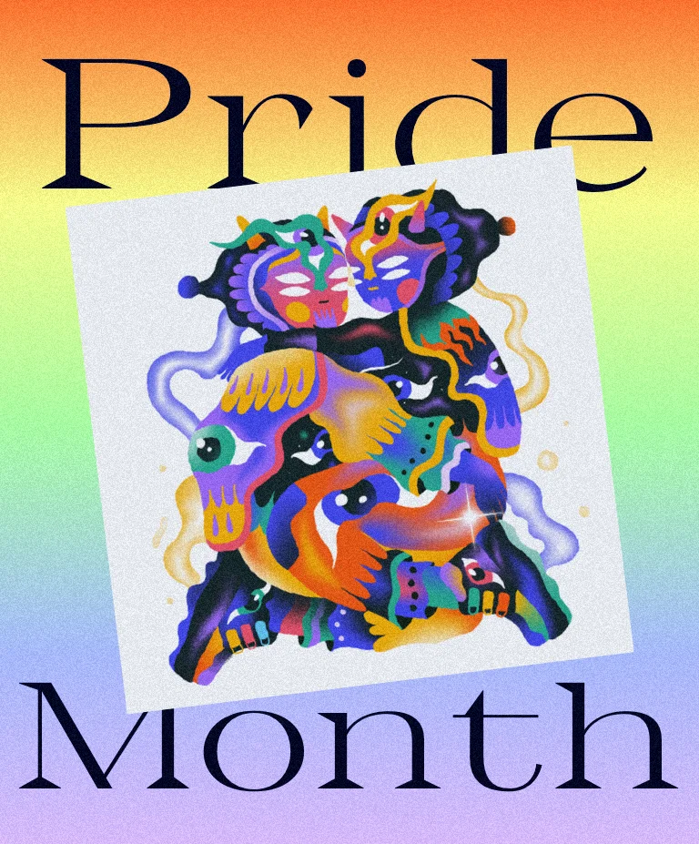 """An illustration of an abstract, colorful couple by Bryndon Díaz against a rainbow colored gradient and the words """"Pride Month"""""""