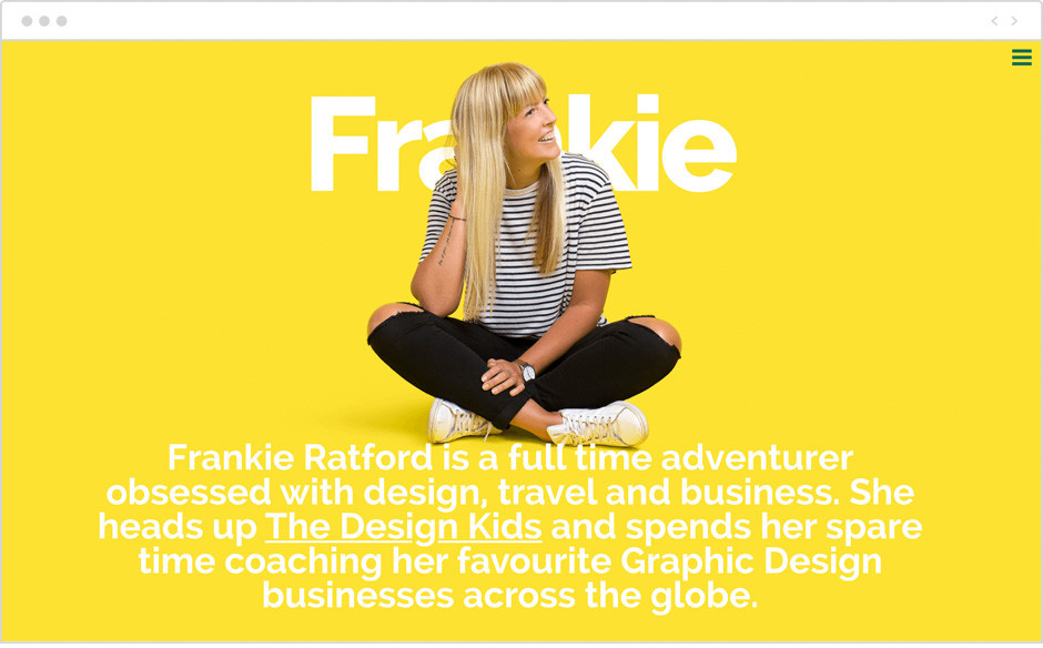 Frankie Ratford personal website example