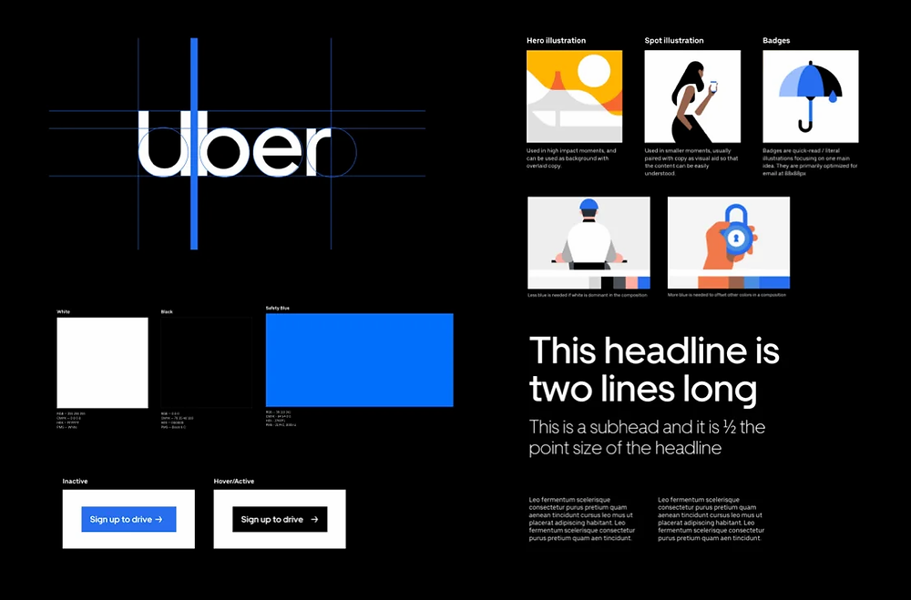 Visual elements from Uber's design system