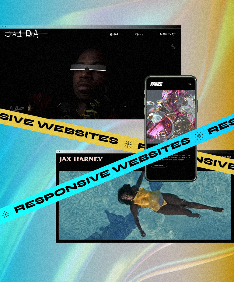 """Three website screenshots, a couple in desktop view and one in mobile, and banners reading """"responsive websites"""""""