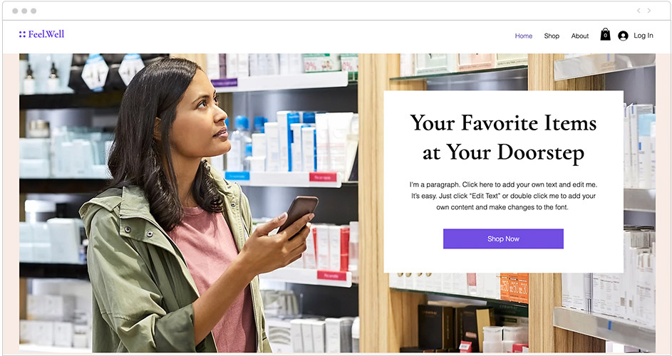 Online Personal Care Store website template with parallax scrolling