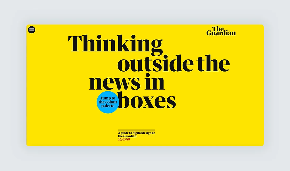 A screenshot of the The Guardian Digital Design Style Guide website
