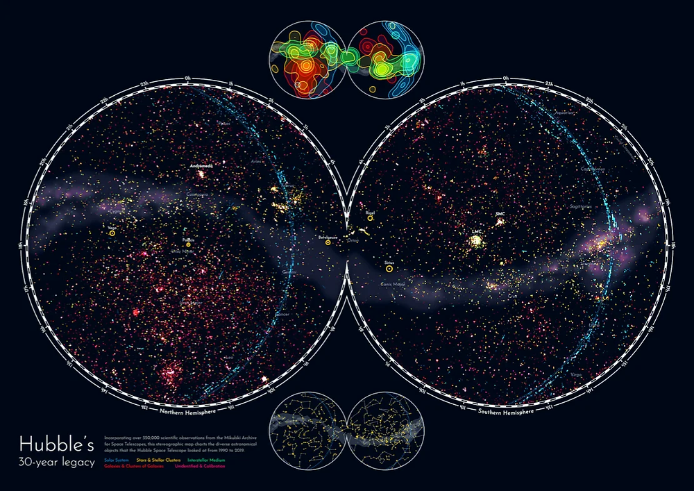 A data visualization in celebration of Hubble Space Telescope's 30th anniversary in orbit by Nadieh Bremer