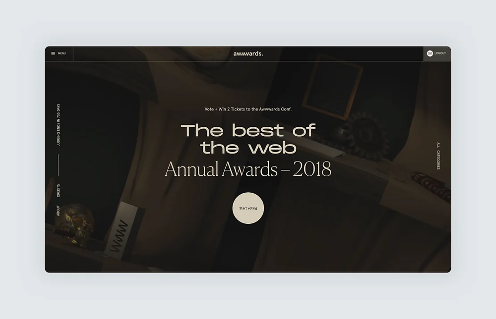 """A website screenshot designed by Locomotive reading """"The best of the web: Annual Awards 2018"""""""