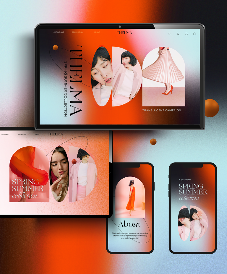 A fashion website shown on several screen sizes and viewports