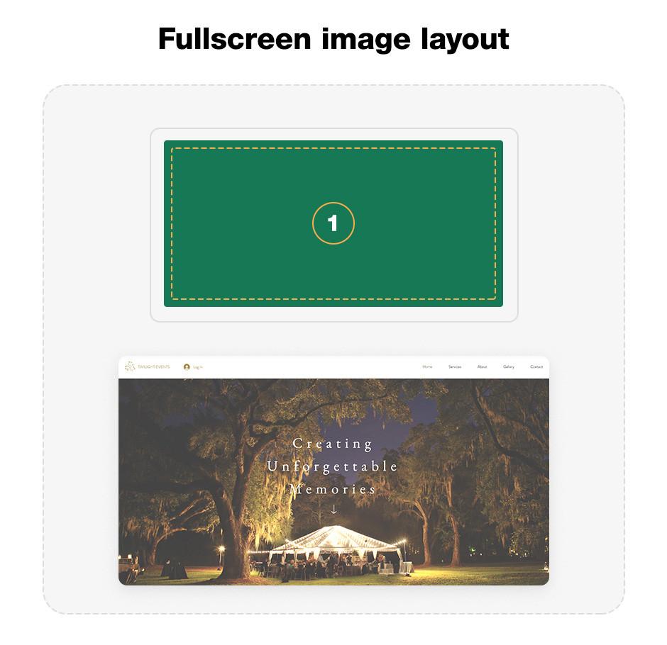 Fullscreen image website layout template