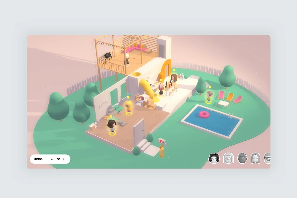 A screenshot of a website design showing a 3D illustration of a isometric house