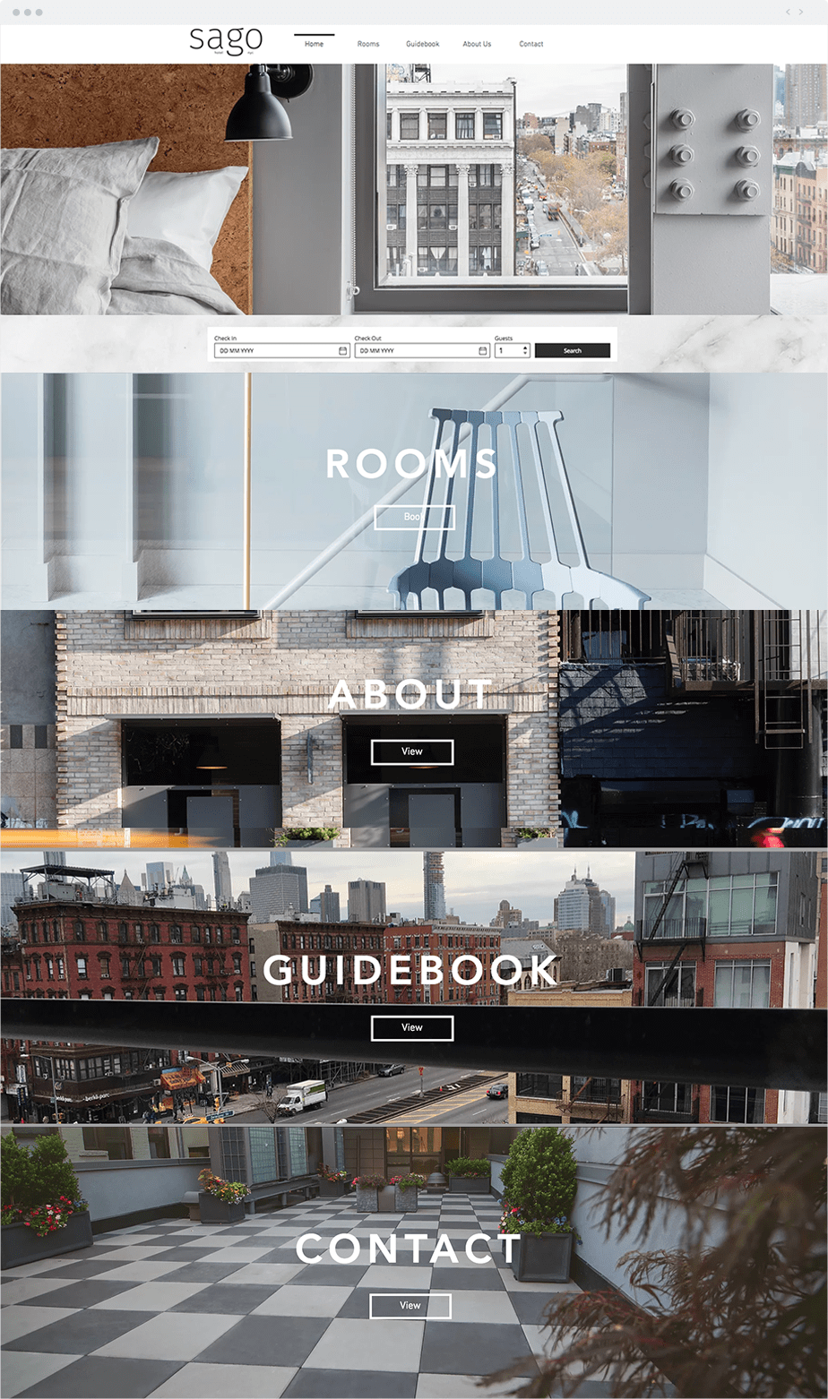 Wix Website: Sago Hotel