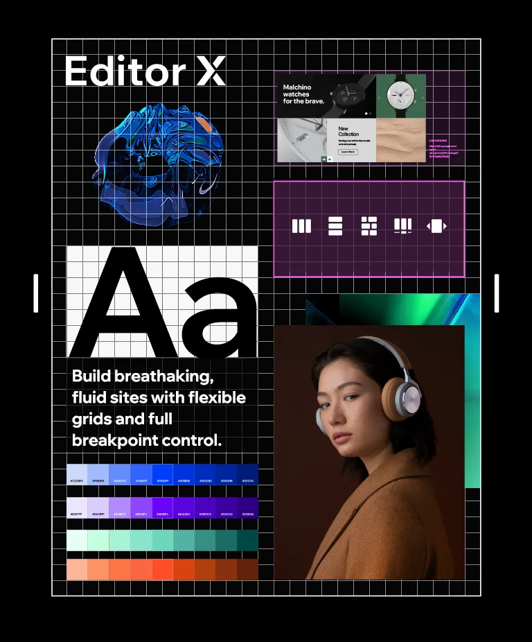 An array of design elements, including a logo, typography, photography and color gradients, taken from the Editor X design system.