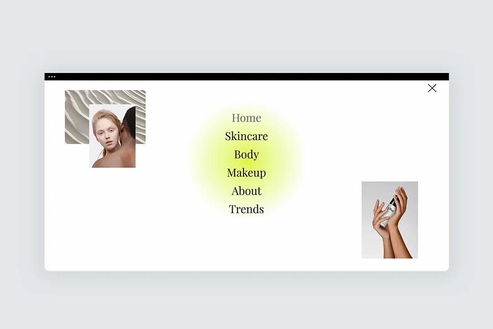 A fullscreen navigation menu in a website design