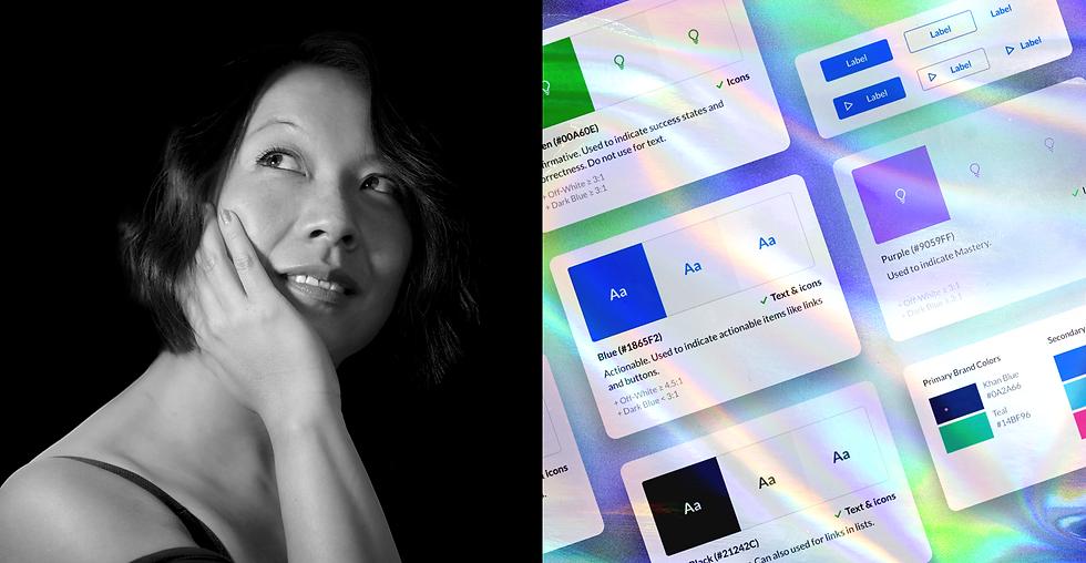 A black-and-white portrait shot of designer May-Li Khoe alongside a visual of the Khan Academy design system