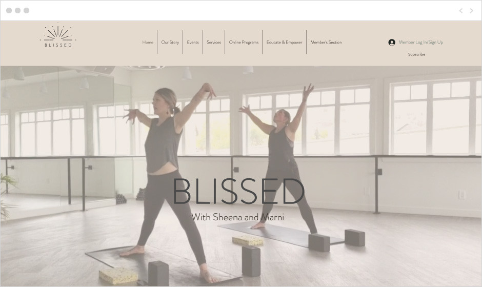 Blissed health and fitness webiste