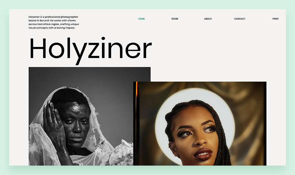 Holyziner small business website example