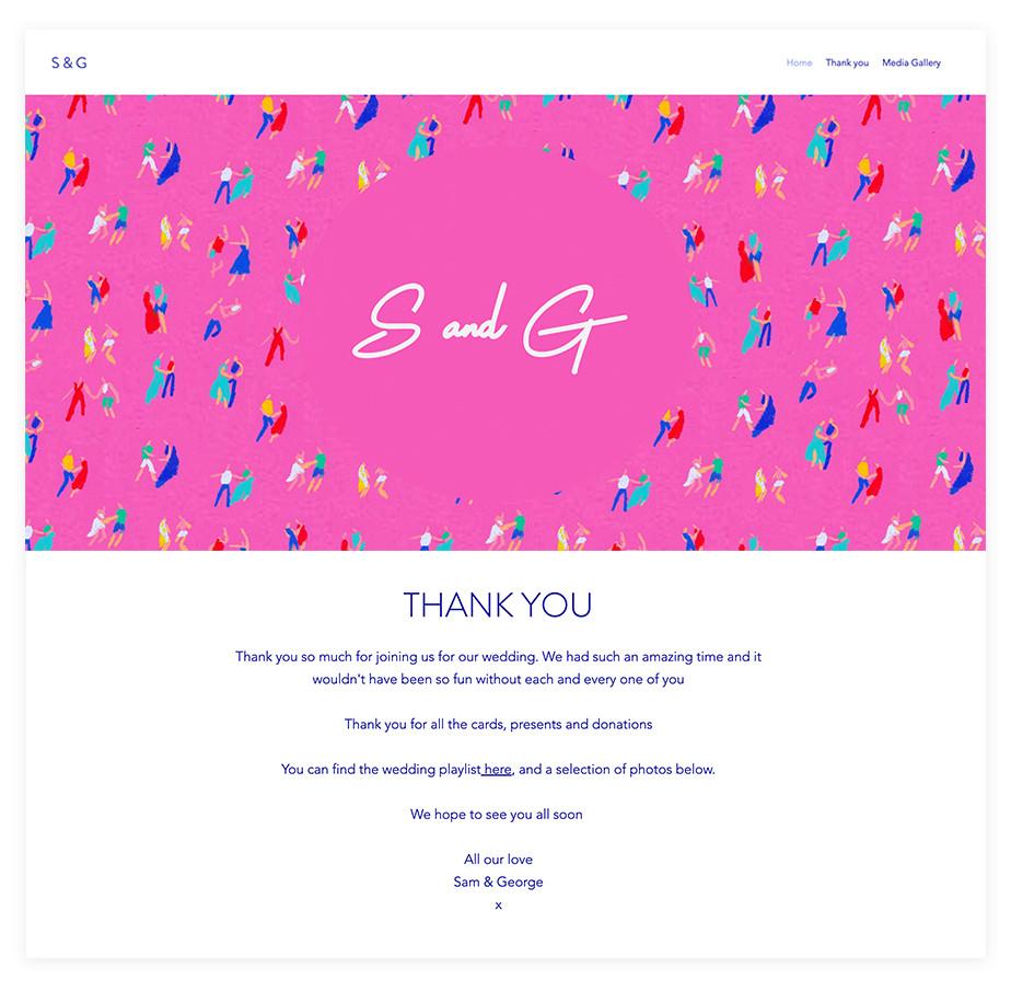 Sam & George wedding website example