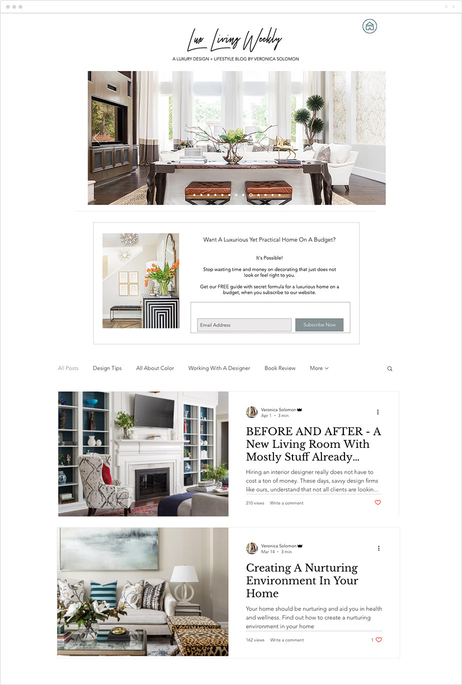 Lux Living Weekly blog example