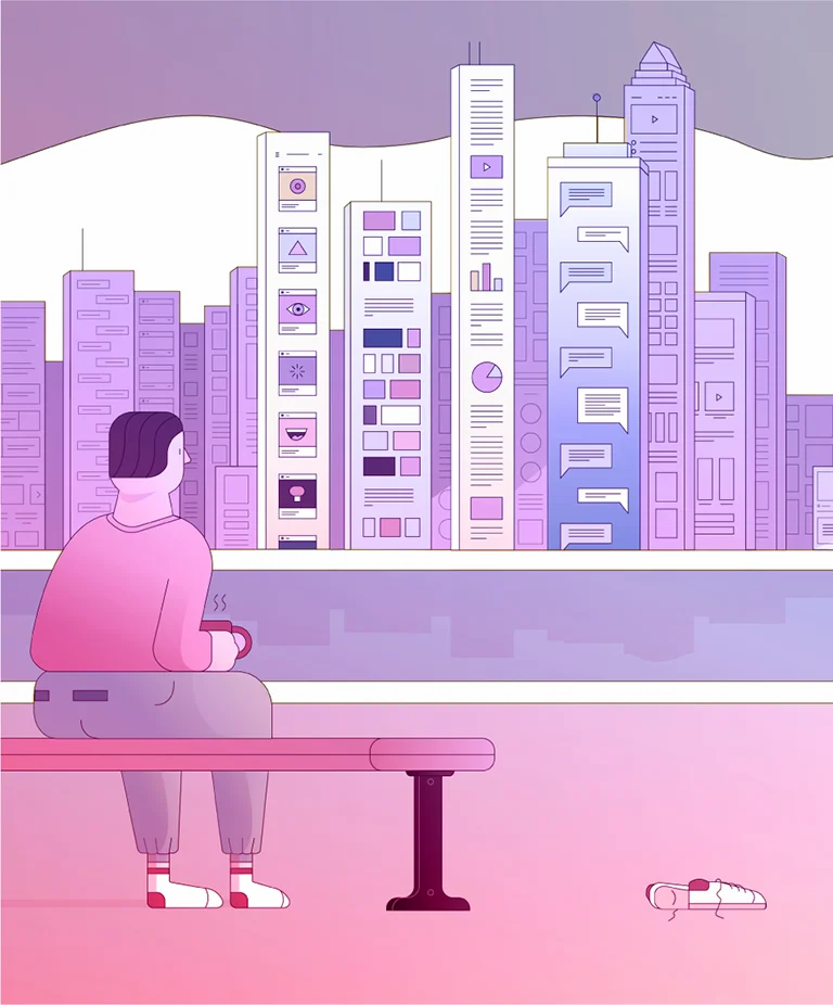 Illustration of a person holding a coffee back looking at digital feeds in the distance.