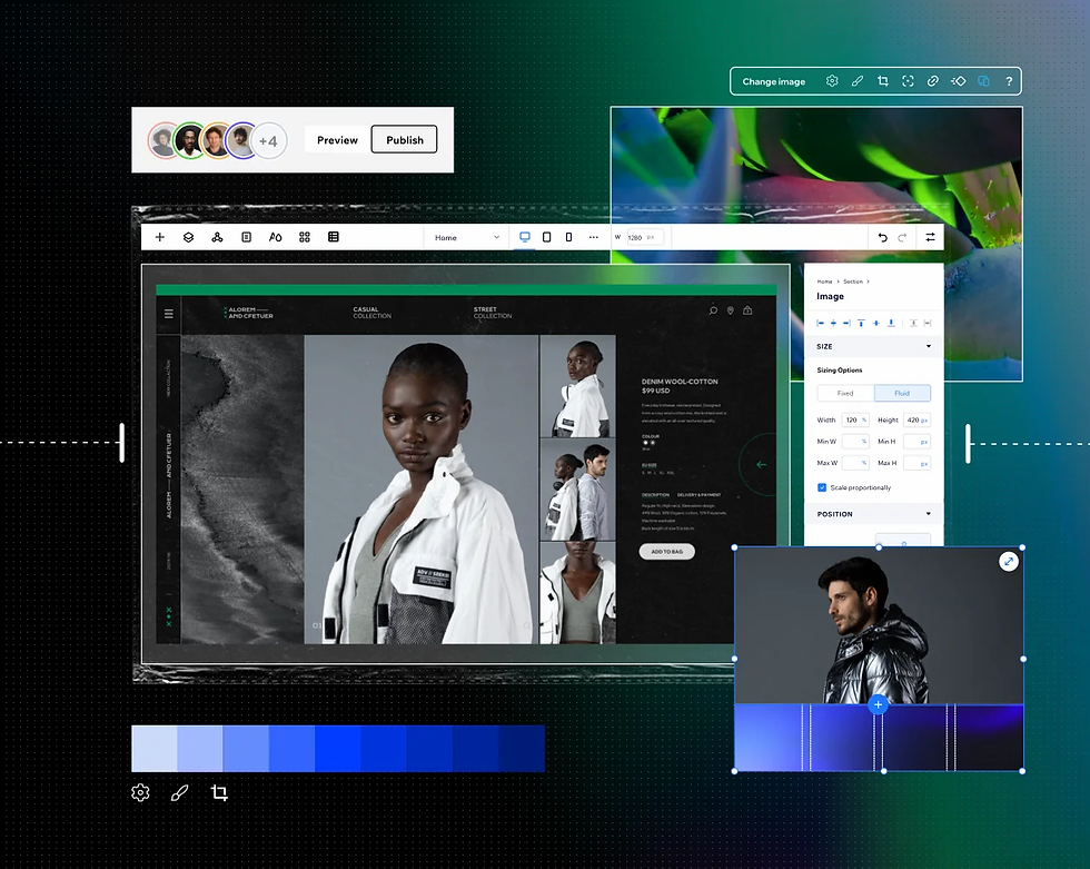 A collection of elements from the Editor X workspace, including the editor, color palettes, concurrent editing and more.